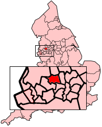 The Metropolitan Borough of Bolton shown within England.