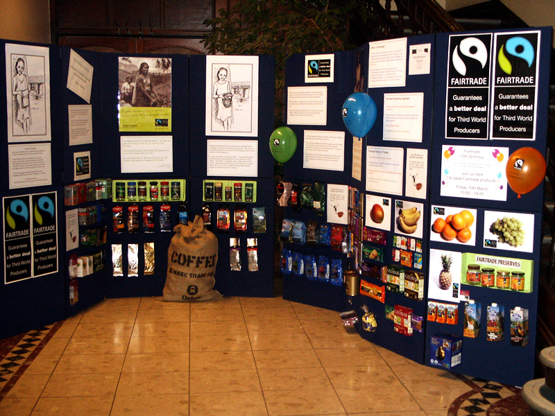 Fairtrade display, Derbyshire County Council head office. Photo by Andie Gilmour. Andie Gilmour from w:en, the copyright holder of this work, hereby publishes it under the following license: GNU head 	Permission is granted to copy, distribute and/or modify this document under the terms of the GNU Free Documentation License, Version 1.2 or any later version published by the Free Software Foundation; with no Invariant Sections, no Front-Cover Texts, and no Back-Cover Texts. A copy of the license is included in the section entitled GNU Free Documentation License.