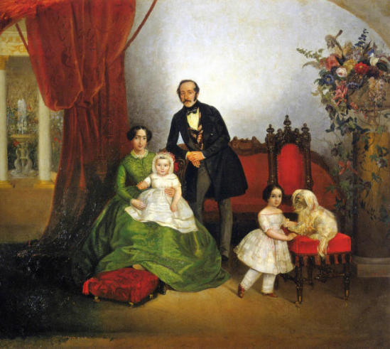 Family portrait in interior by E.Botman (1845)