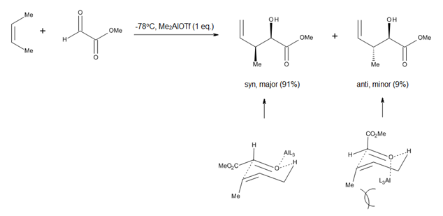 Figure 4. Chair-like transition state proposed for Lewis-acid catalyzed carbonyl-ene additions