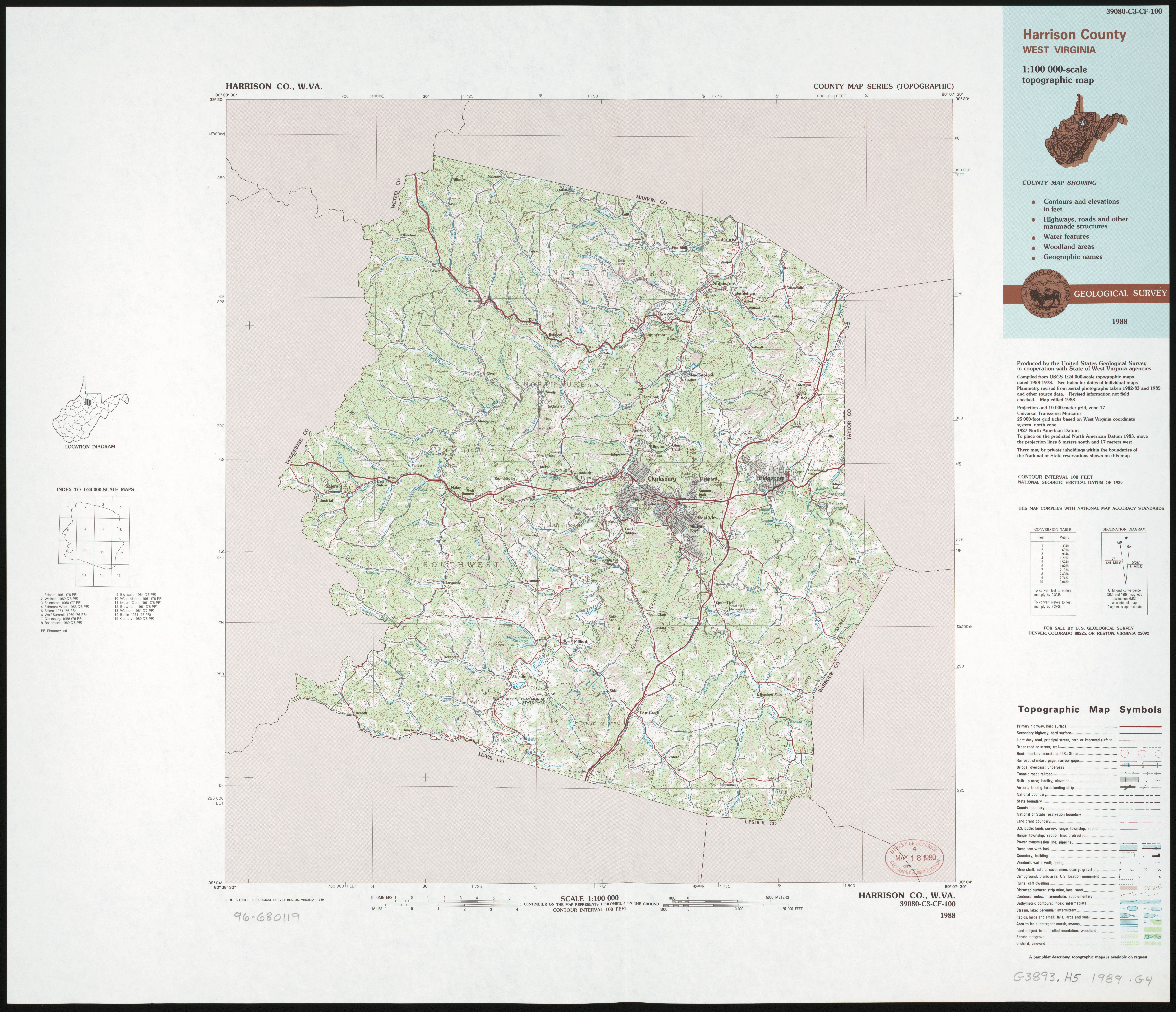 File Harrison County West Virginia 1 100 000 Scale Topographic