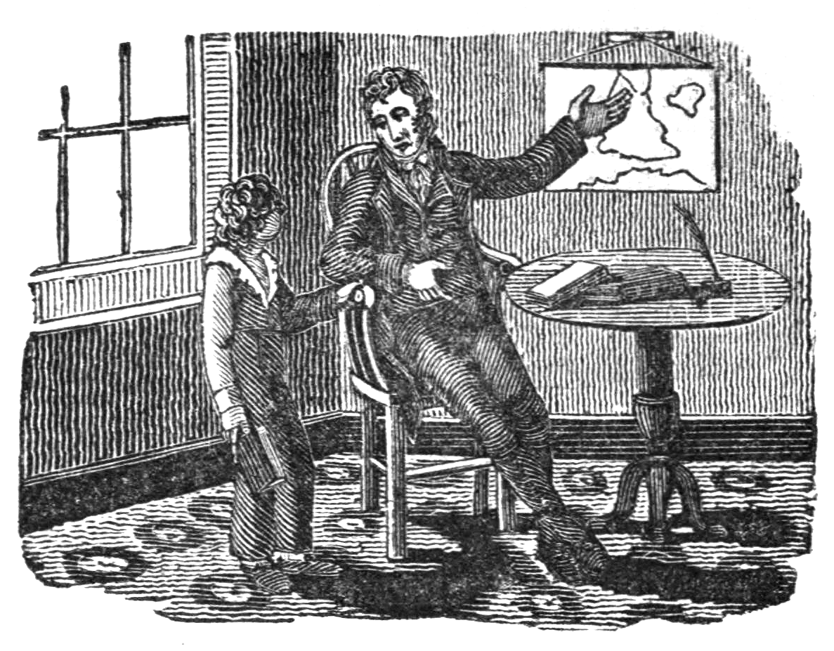 Father teaching his son geography in an 1830 woodcut