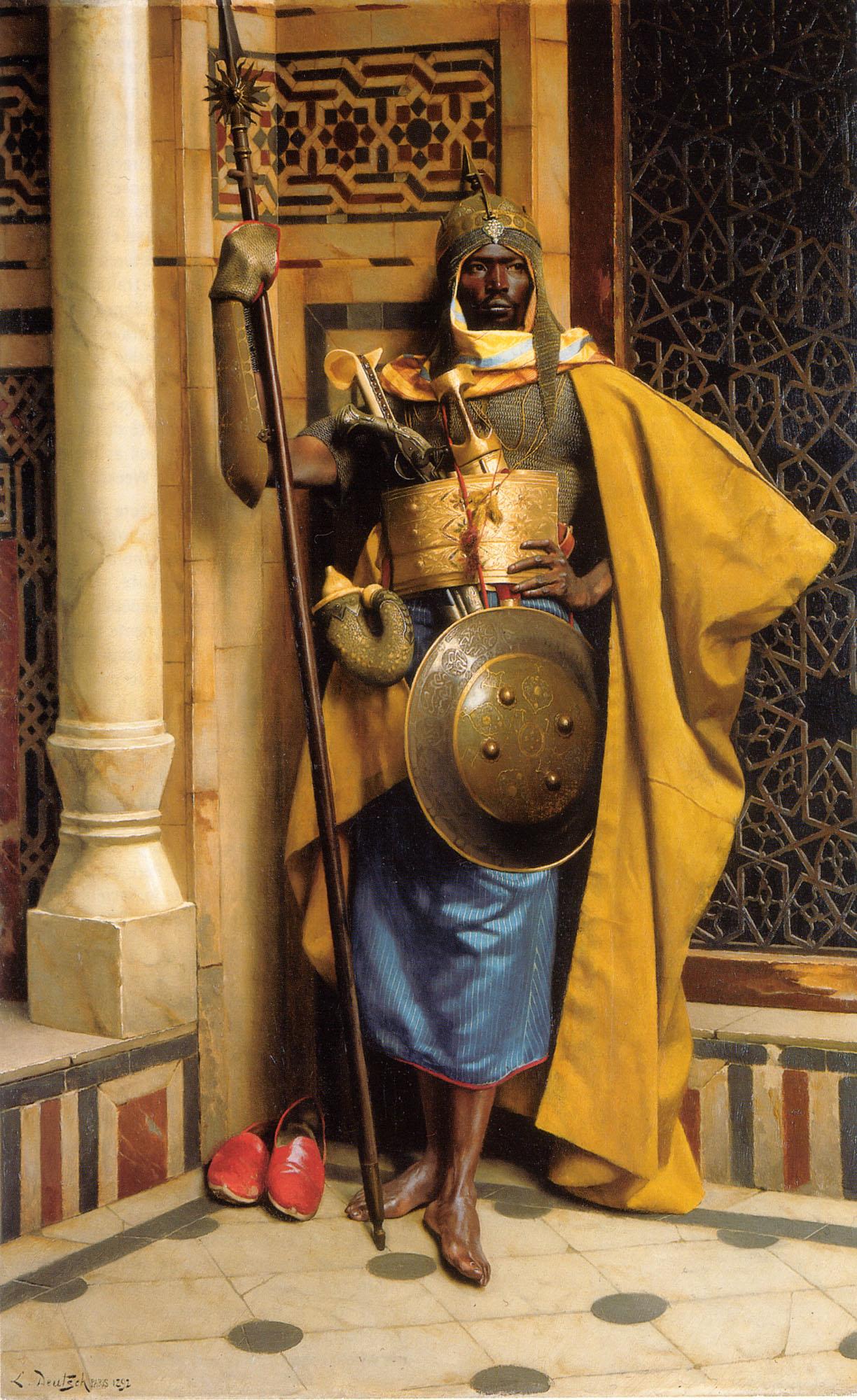 Une peinture d'un guerrier du sultanat de Sinnar, achevée au XIXe siècle lors de l'existence du Sultanat Funj de Sennar peint par Ludwig Deutsch