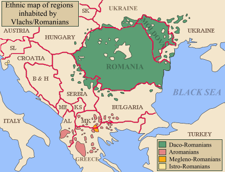 Map of Balkans with regions inhabited by Vlachs/Romanians highlighted