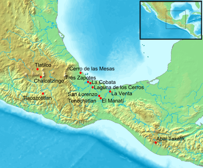 Location map of Olmec Archeological sites. Map on Wikimedia Commons by Fabienkhan.