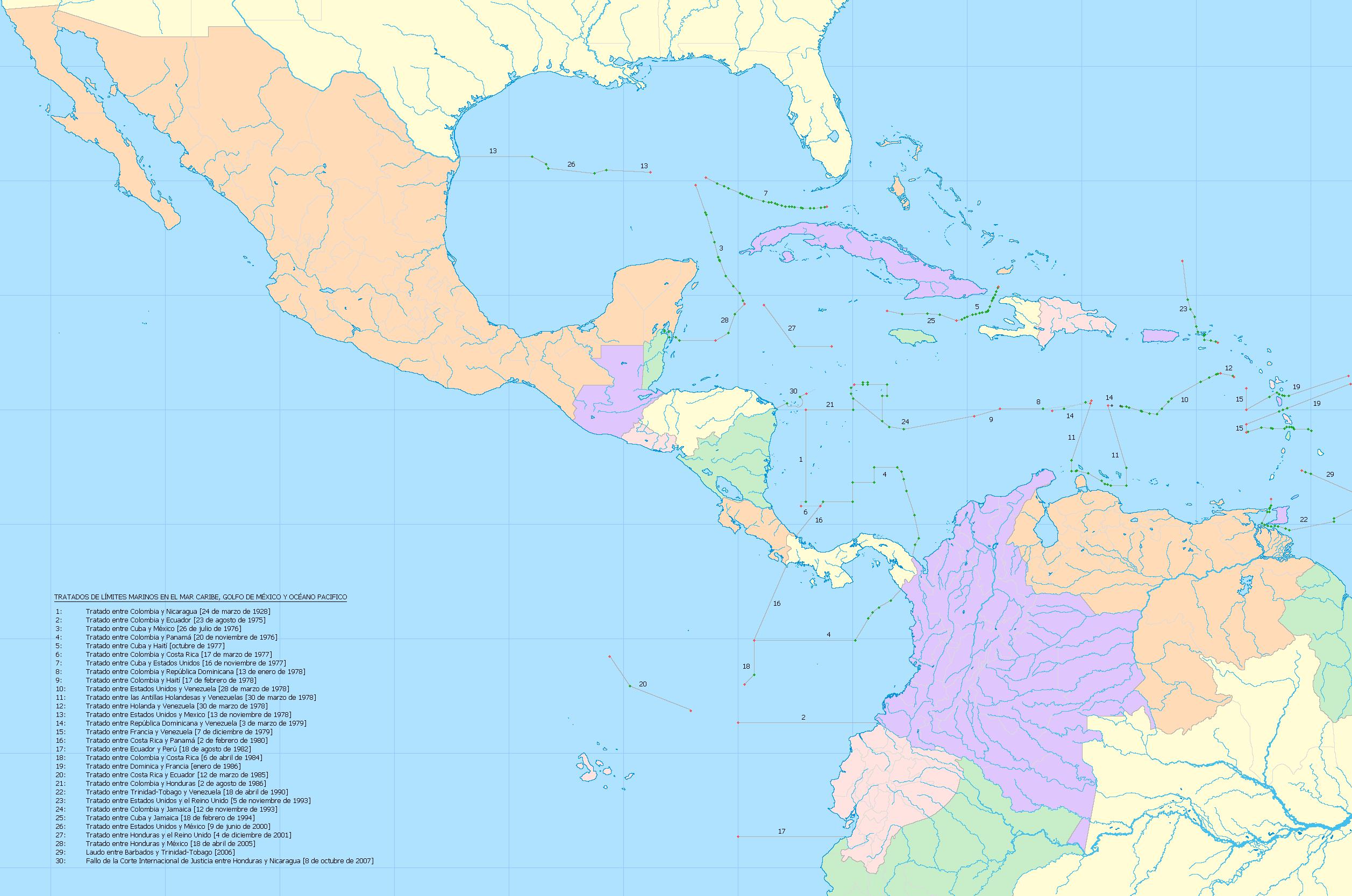 Golfo De Mexico Map.File Mapa Del Caribe Limites Marinos Png Wikimedia Commons