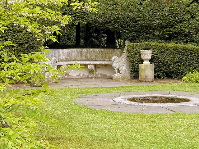 Marble Bench in Tatton Park Tower Garden-geograph-3984125