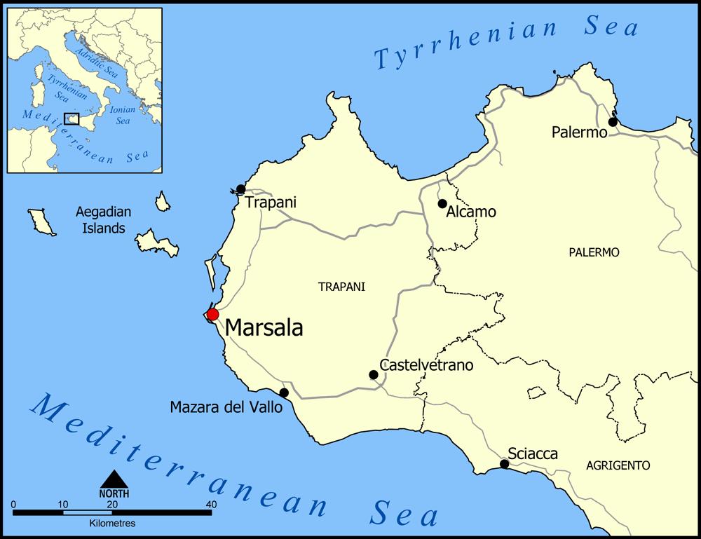 mappa di Marsala, nella Sicilia Occidentale