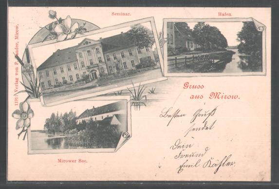 Schloß Mirow auf historischer Postkarte - Quelle: Wikipedia