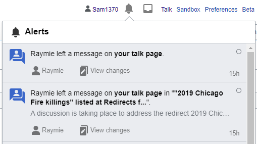 The message notification as it would appear for registered users