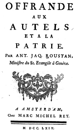 Title page of Roustan's first book on Christianity and Patriotism (1764)
