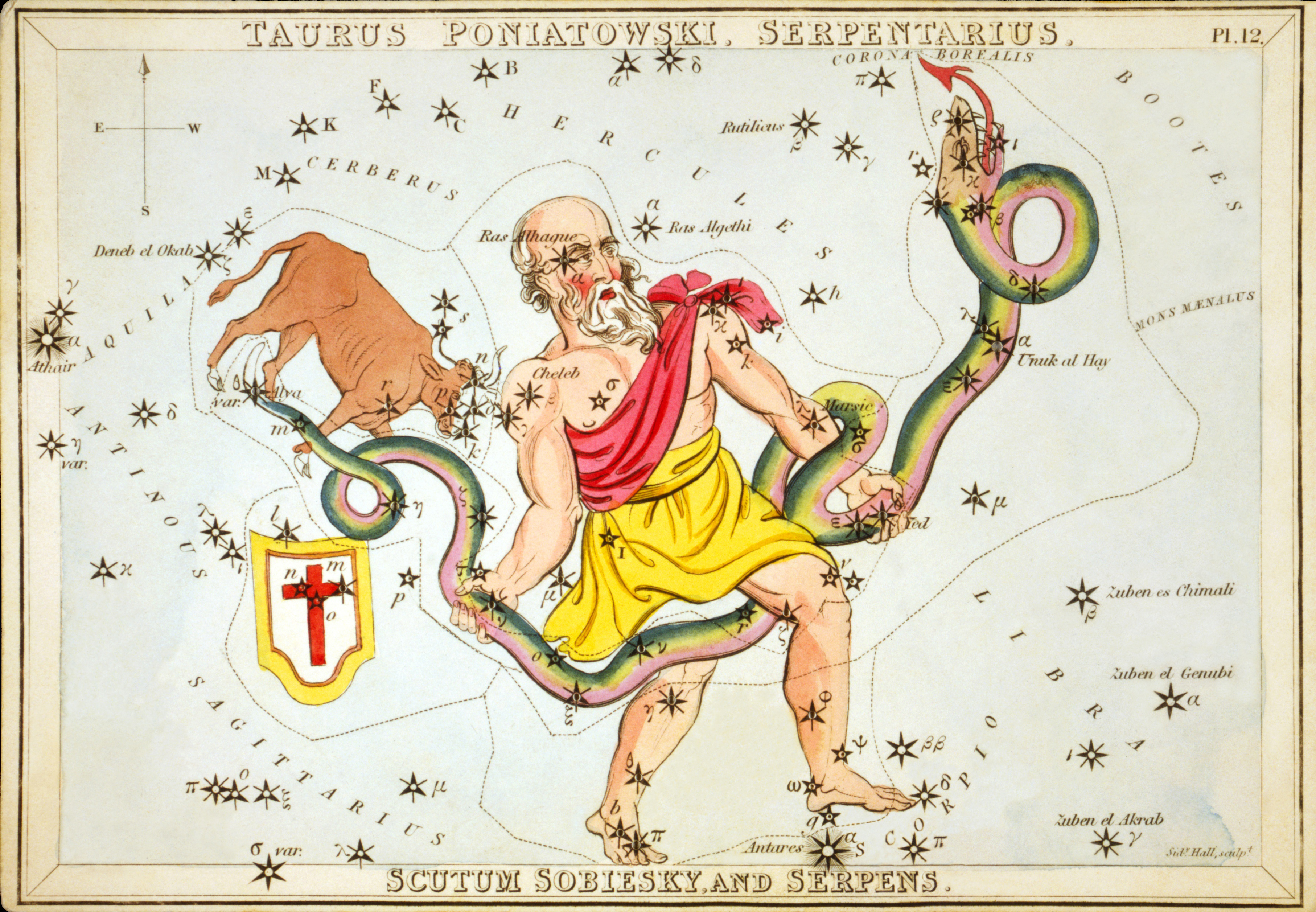 English: Ophiuchus as depicted in Urania's Mir...