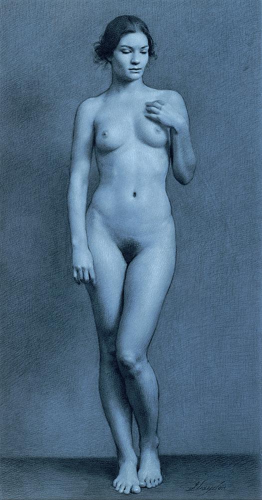 Drawing of woman posing naked