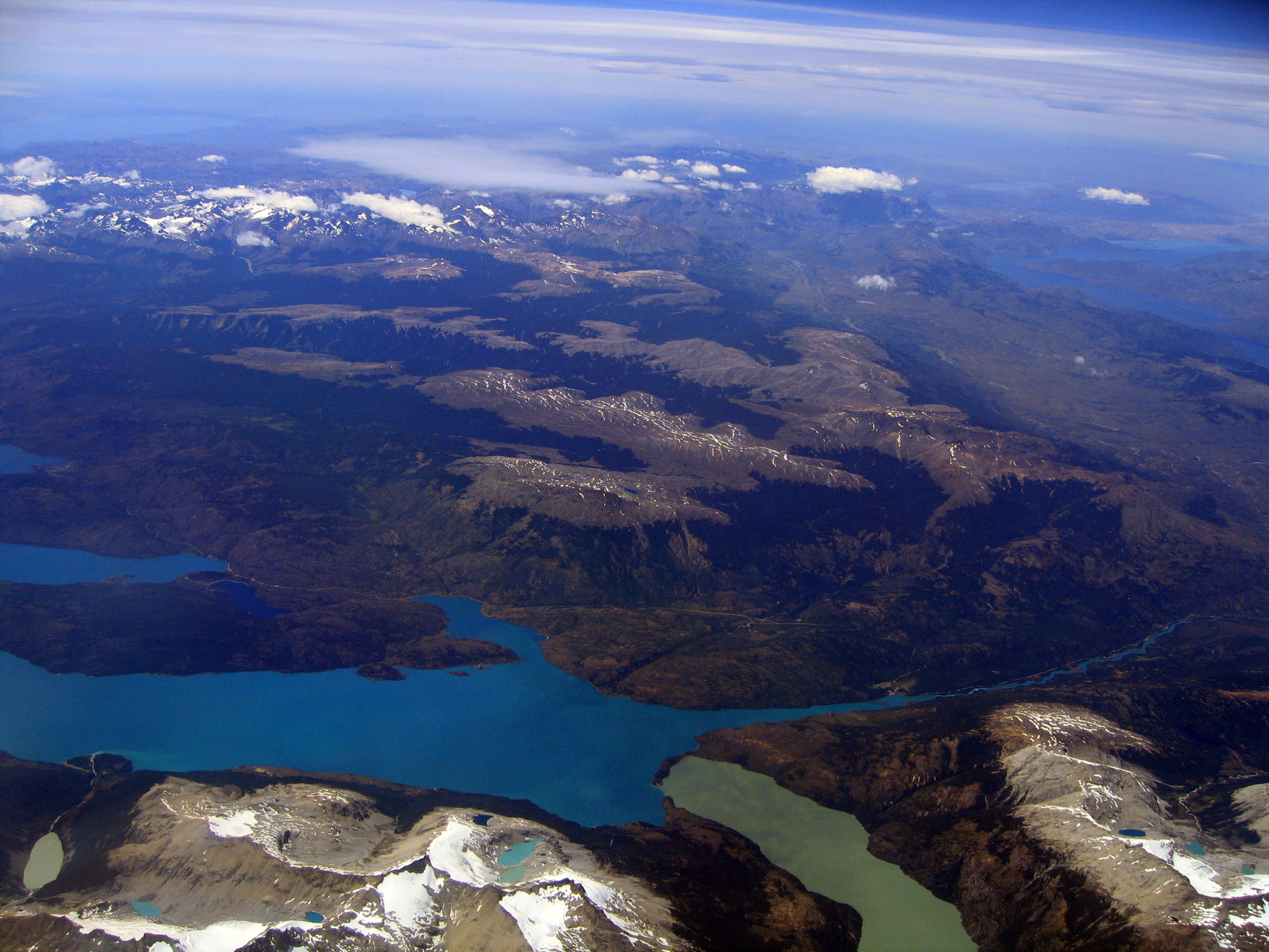 English: Aerial photo of an area in Patagonia,...
