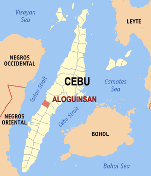 Map of Cebu showing the location of Aloguinsan