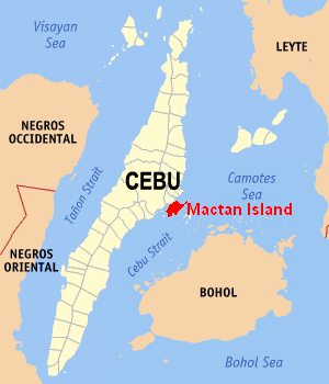 Location of Mactan Island in Cebu.
