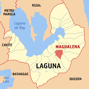 Map of Laguna showing the location of Magdalena