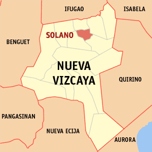 Map of Nueva Vizcaya showing the location of Solano