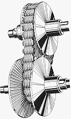 "A pair of conical pulleys, with a flat belt running between them. The lower pulley is formed from two separate movable cones. In the current configuration, the cones have been moved apart so the belt ""falls"" into the space between them. By moving the cones closer, the belt is forced to ride higher on the sides of the cones, changing the pulley ratio."