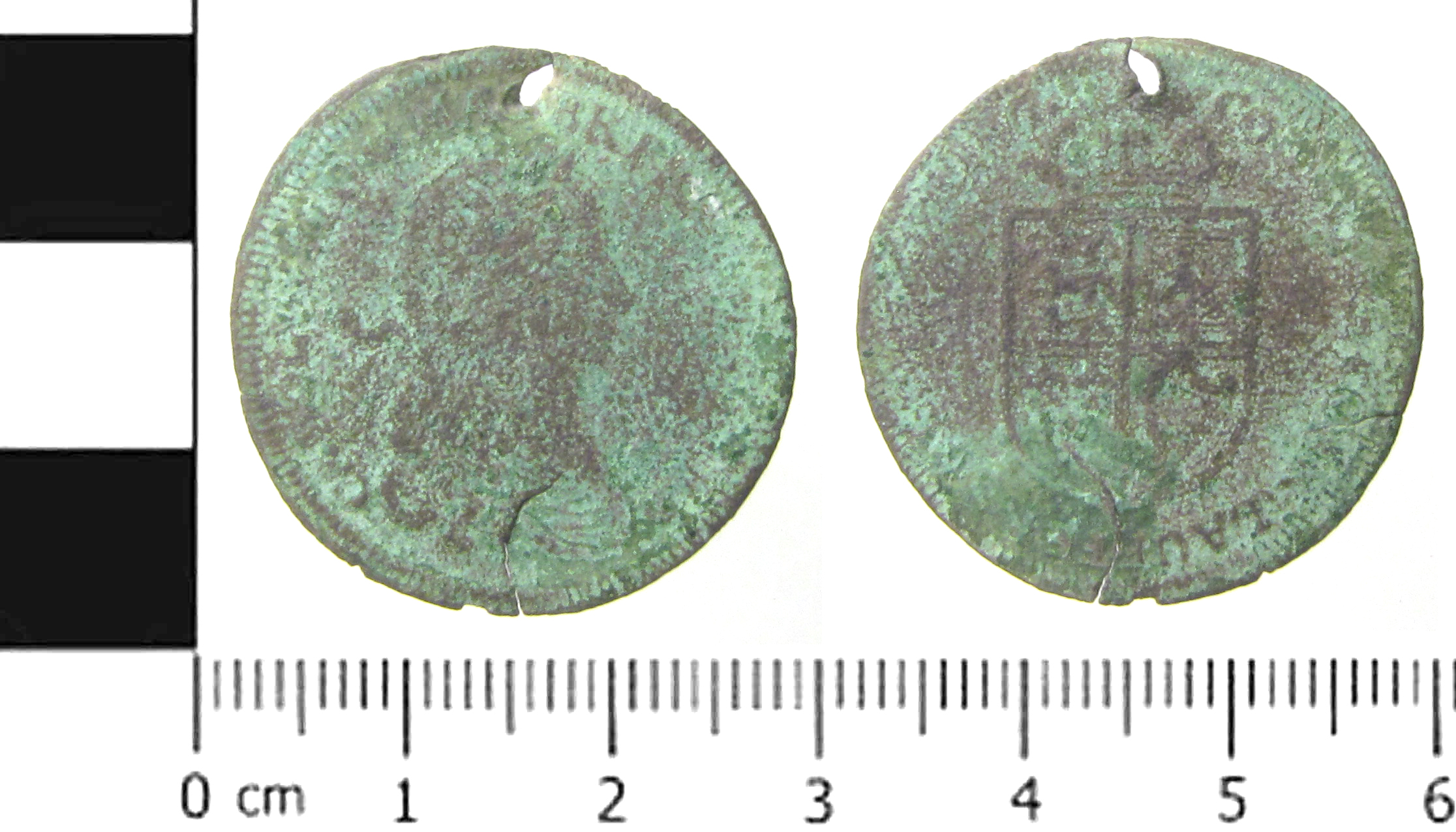 Medieval Coin English: A copper alloy jetton, probably issued by Cornelius or Lazarus Lauffer, (Master 1658, died 1711 and Master 1663, died