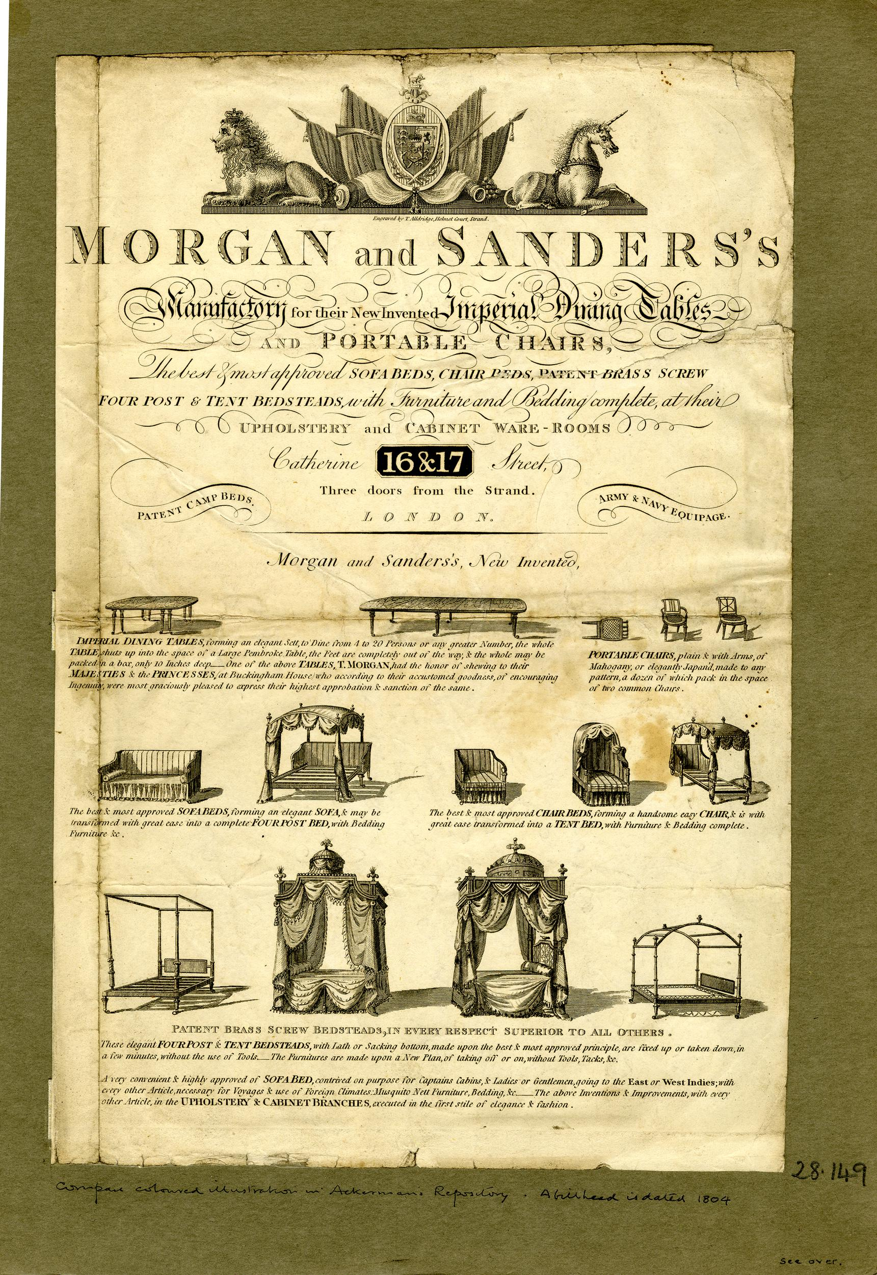 Sander's newly invented products: two tables, a foldable chair, sofa-bed, chair-bed, four-post beds. Sheet folded, with letterpress text on the other side. 1804