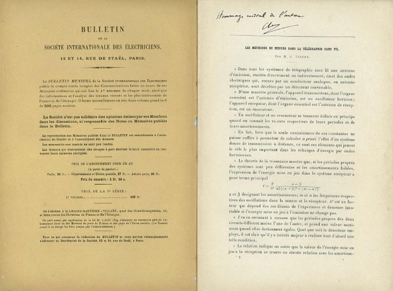 "Article by Camille Tissot, published in the ndeg 57 of July 1906 of the bulletin of the ""Company of the Electricians"" (Societe des electriciens). SIE ndeg57 tire a part TISSOT (dedicace a Maurice JEANCE).JPG"
