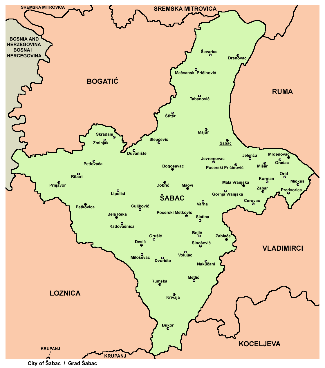 mapa sapca Opština Šabac   Wikipedia mapa sapca