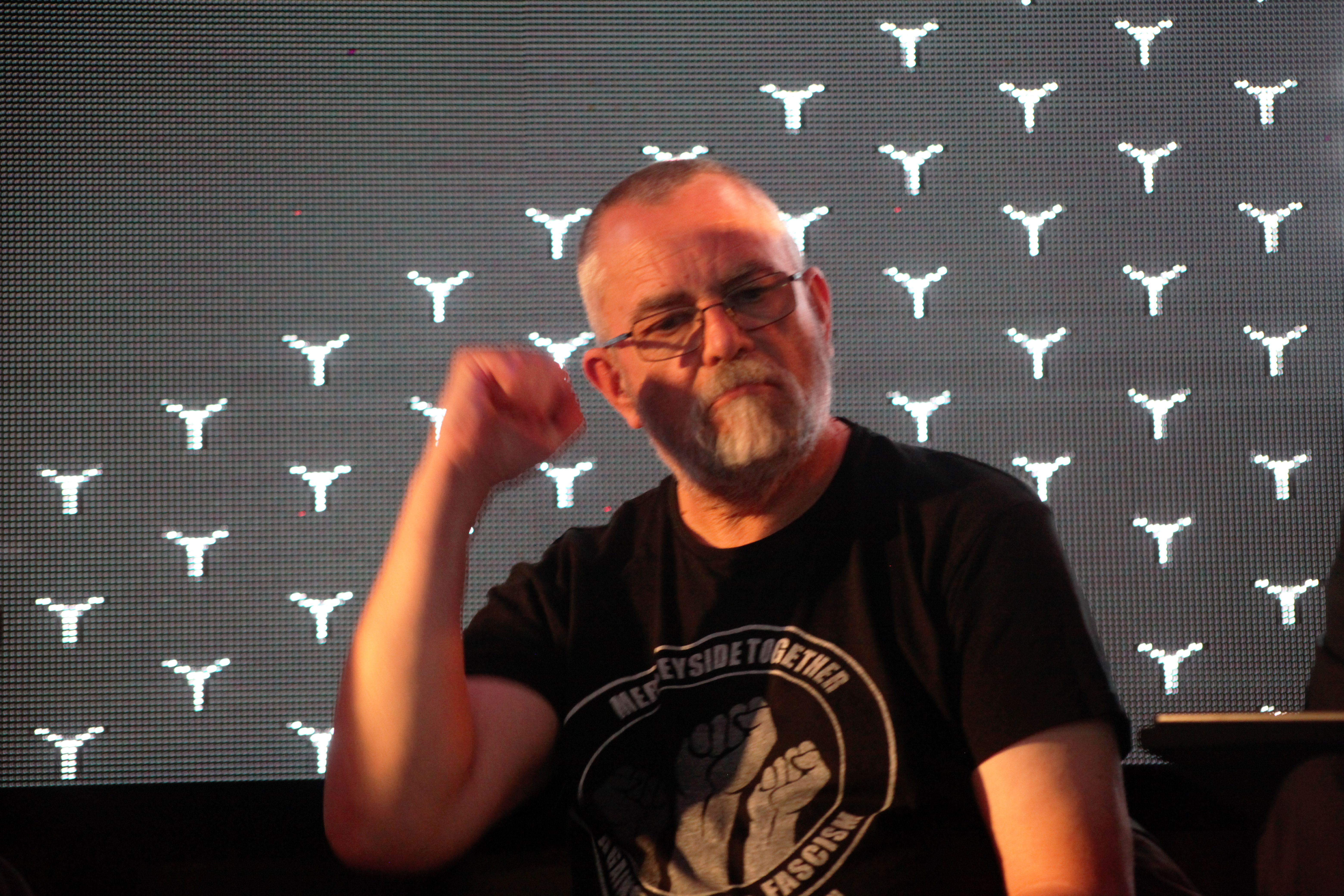 Gibbons at [[The World Transformed]] 2018 in [[Liverpool]]