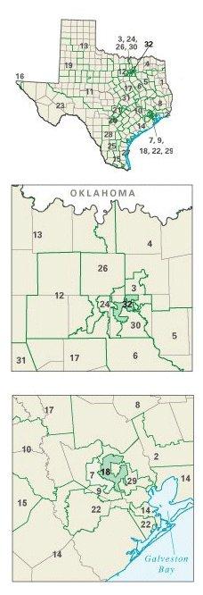 Texas: Congressional constituencies after 2003 electoral redistricting.