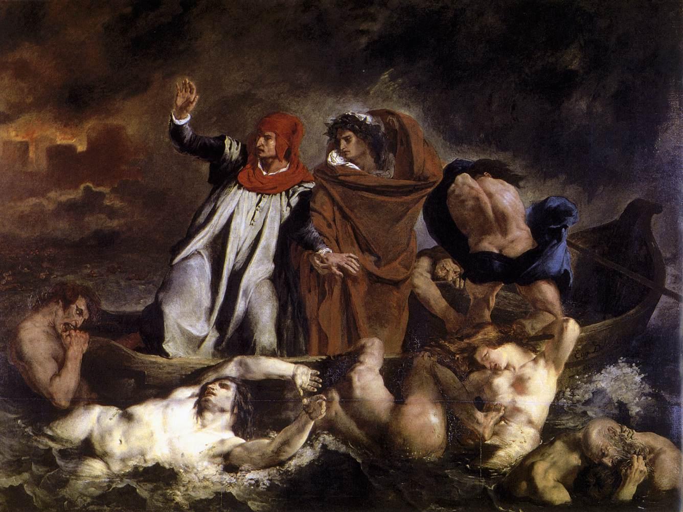 """ダンテの小舟(1822年、ルーヴル美術館所蔵) """"La Barque de Dante"""" Wikipediaより"""