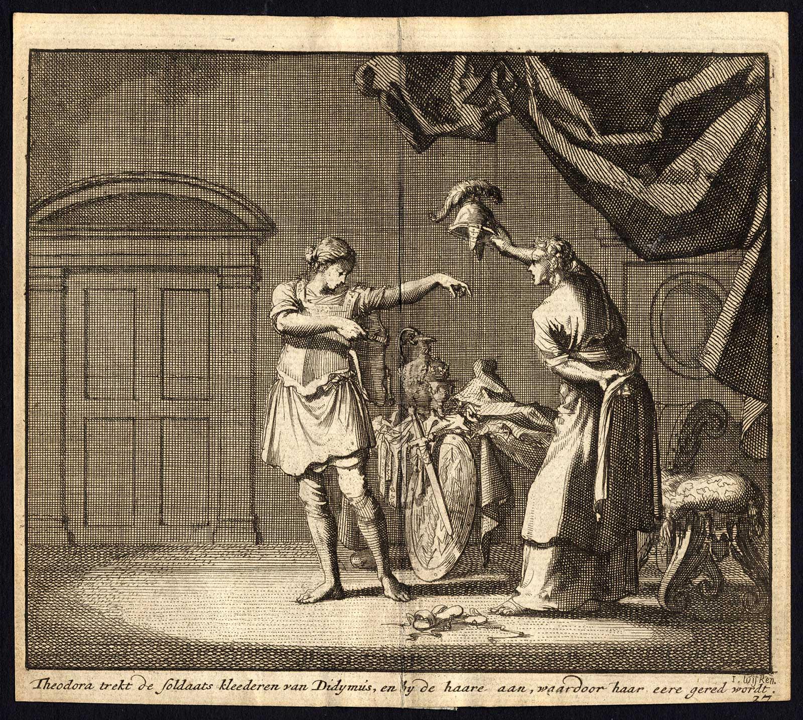 Theodora og Didymus bytter klær på bordellet, historisk kopperstikk