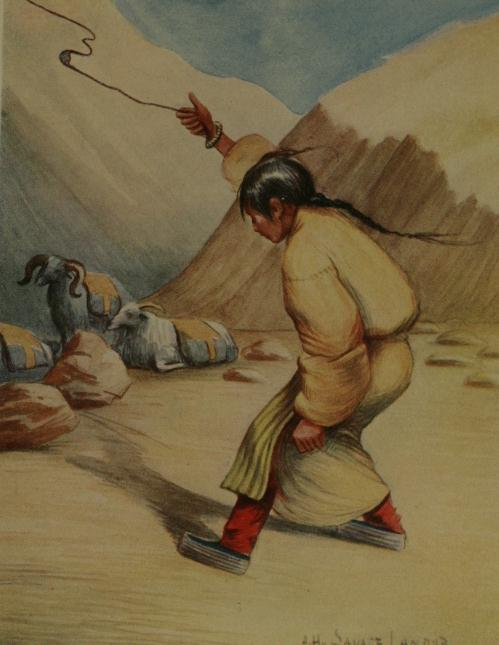tibetan girl using a sling.jpg