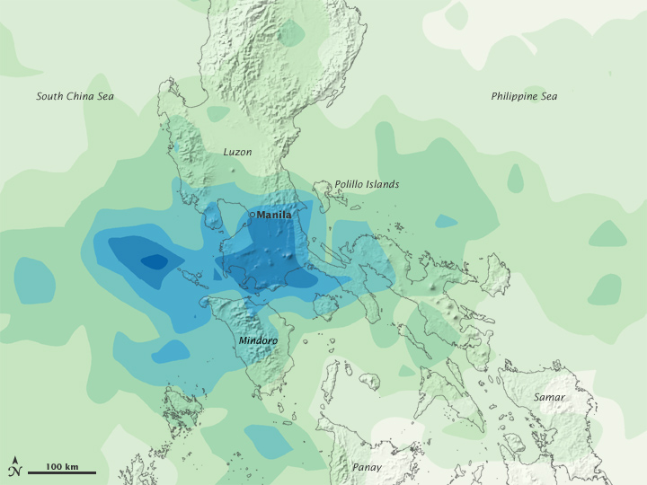 Typhoon Ketsana accumulated rainfall in Philippines