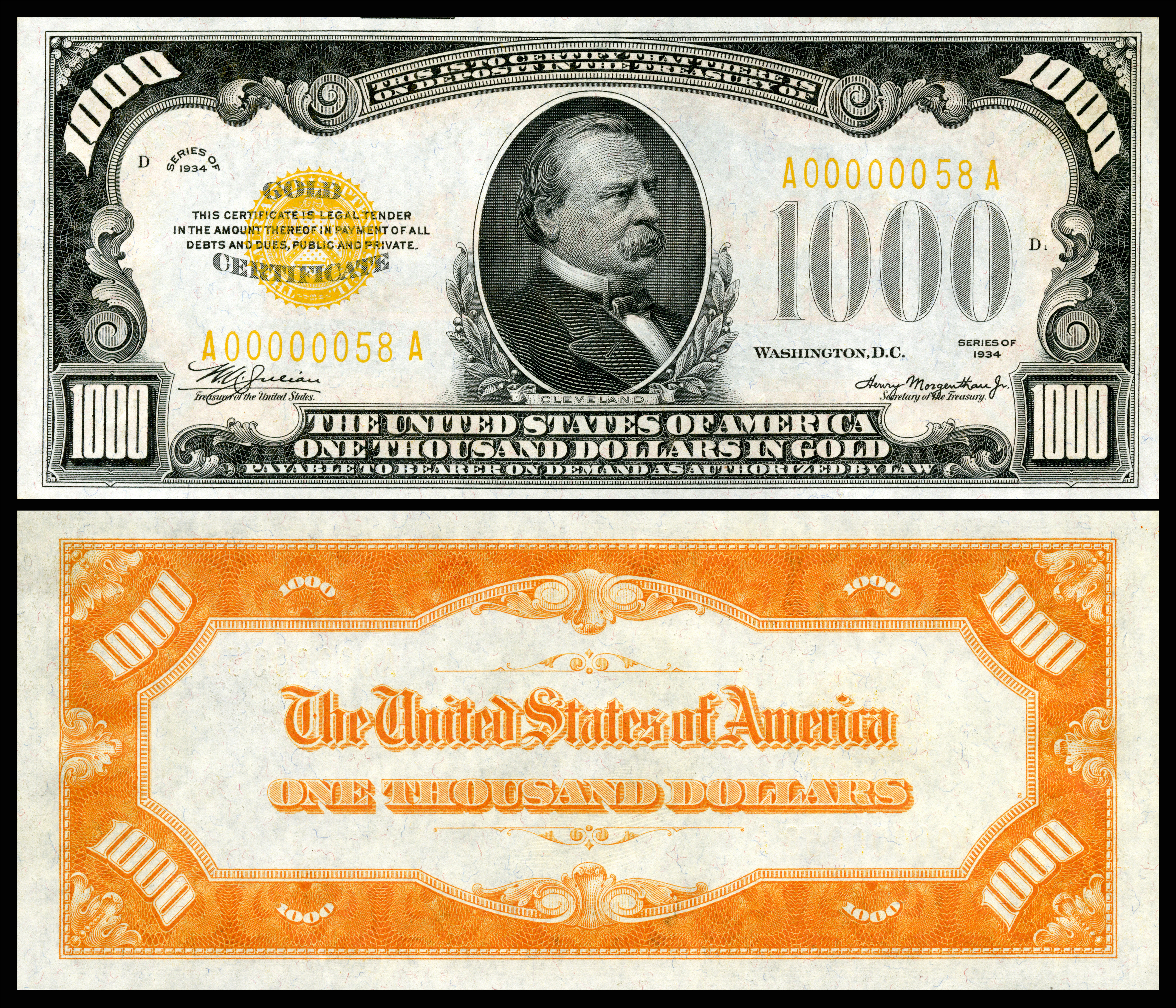 Wikipediafeatured picture candidatesseries 1882 and 1934 1000 1000 gold certificate 1934 depicting grover cleveland signed by julian and morgenthau 1betcityfo Gallery