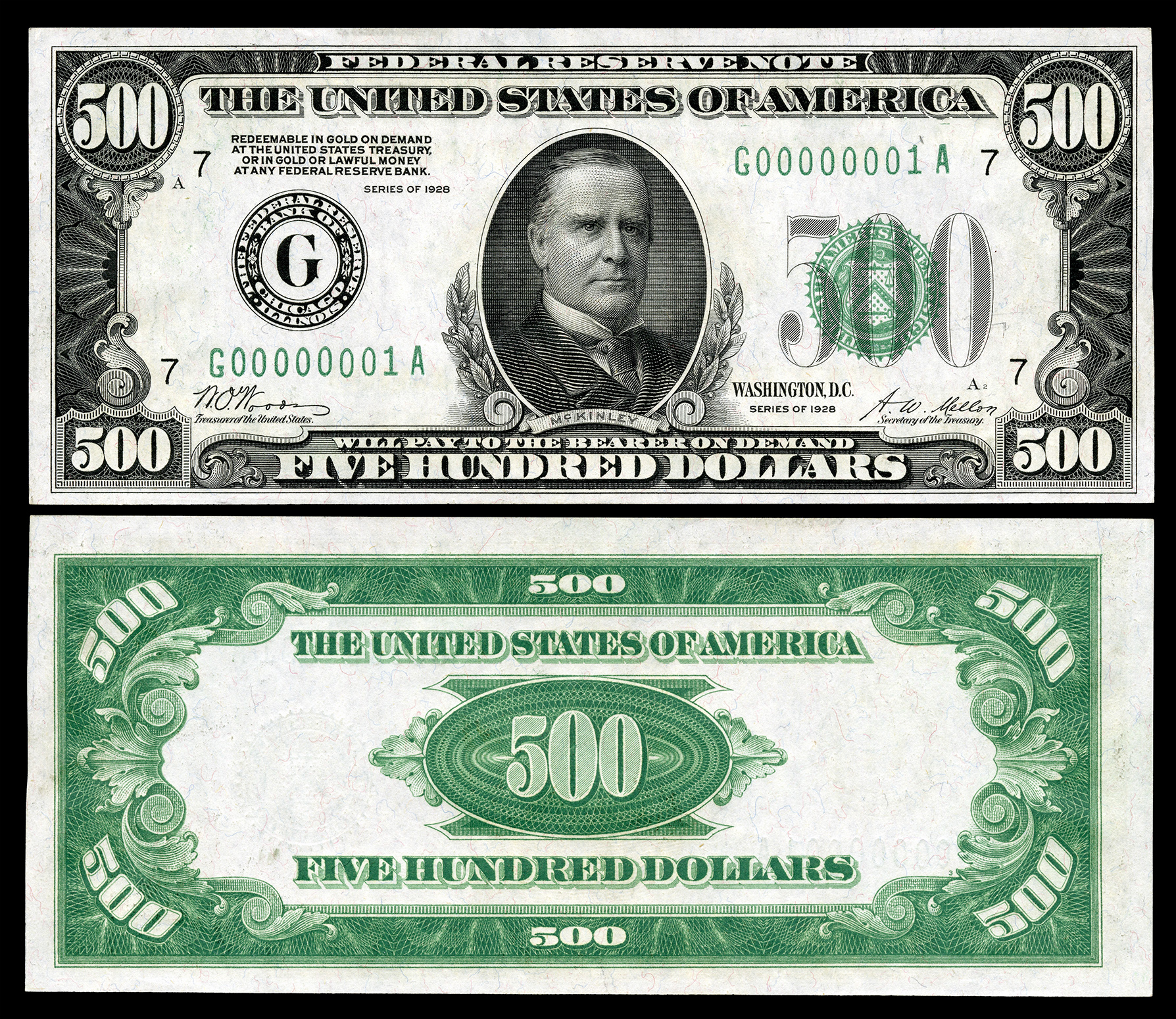worksheet 200 Dollar Bill large denominations of united states currency wikipedia 500 federal reserve note series 1928 fr 2200g depicting william mckinley