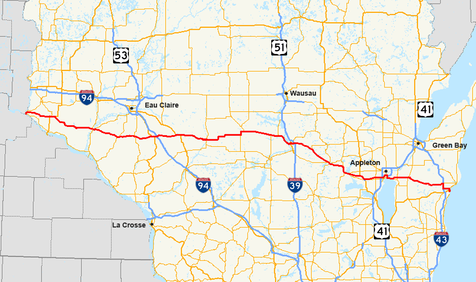 US Route In Wisconsin Wikipedia - Wisconsin on a us map