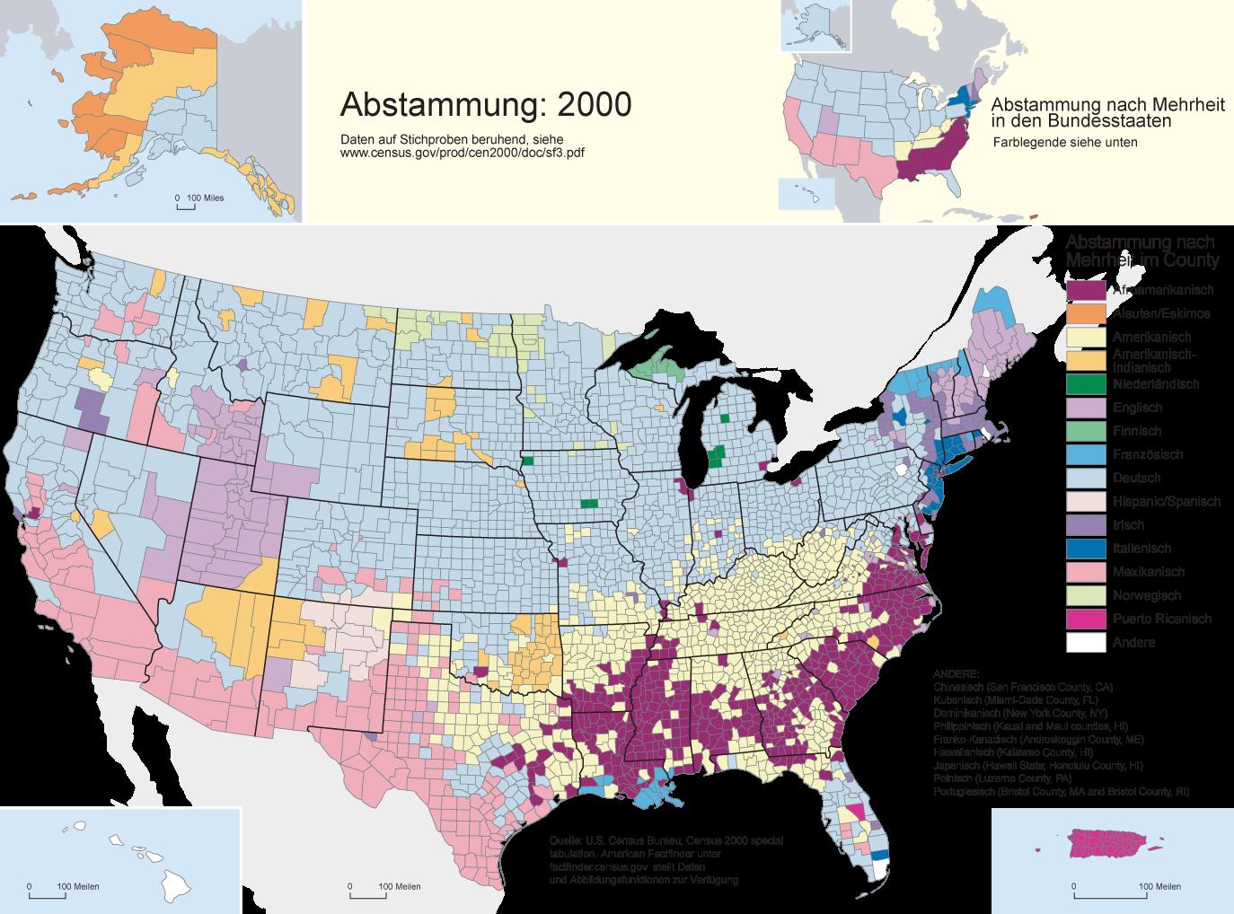 Abstammungsgruppen mit höchstem Bevölkerungsanteil in den Counties