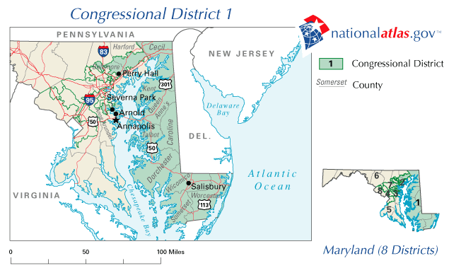 FileUnited States House Of Representatives Maryland District - Maryland in us map