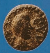 A Vandal-period coin found in Sardinia depicting Godas. Latin legend : REX CVDA. Vandal coin.png