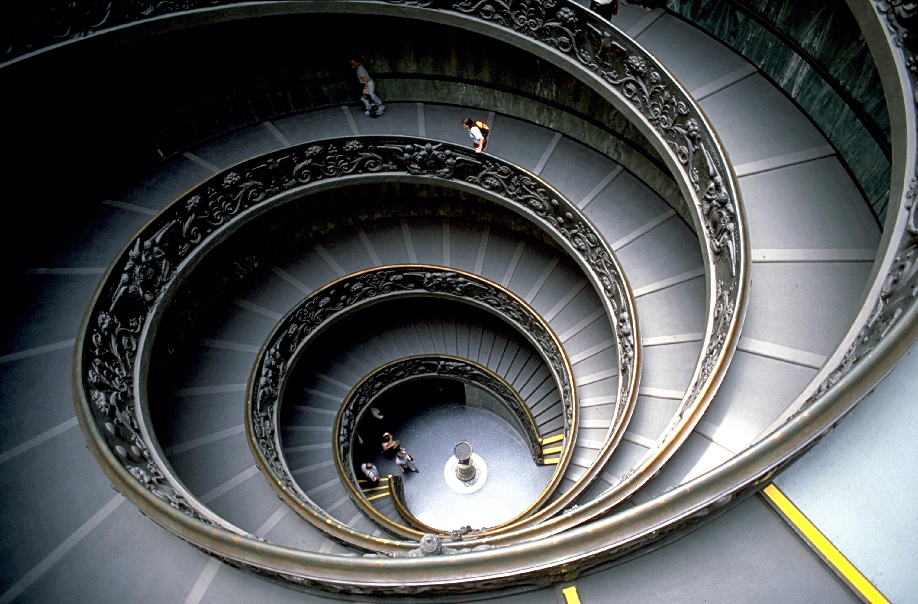 Vast Spiral Staircase Half In Darkness It Is A Stepped