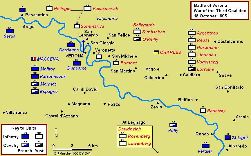 Battle of Verona map, showing Massena's assault crossing to the east bank of the Adige. Seras and Verdier carried out successful diversions on the left and right flanks. Verona Battle Map 1805.jpg