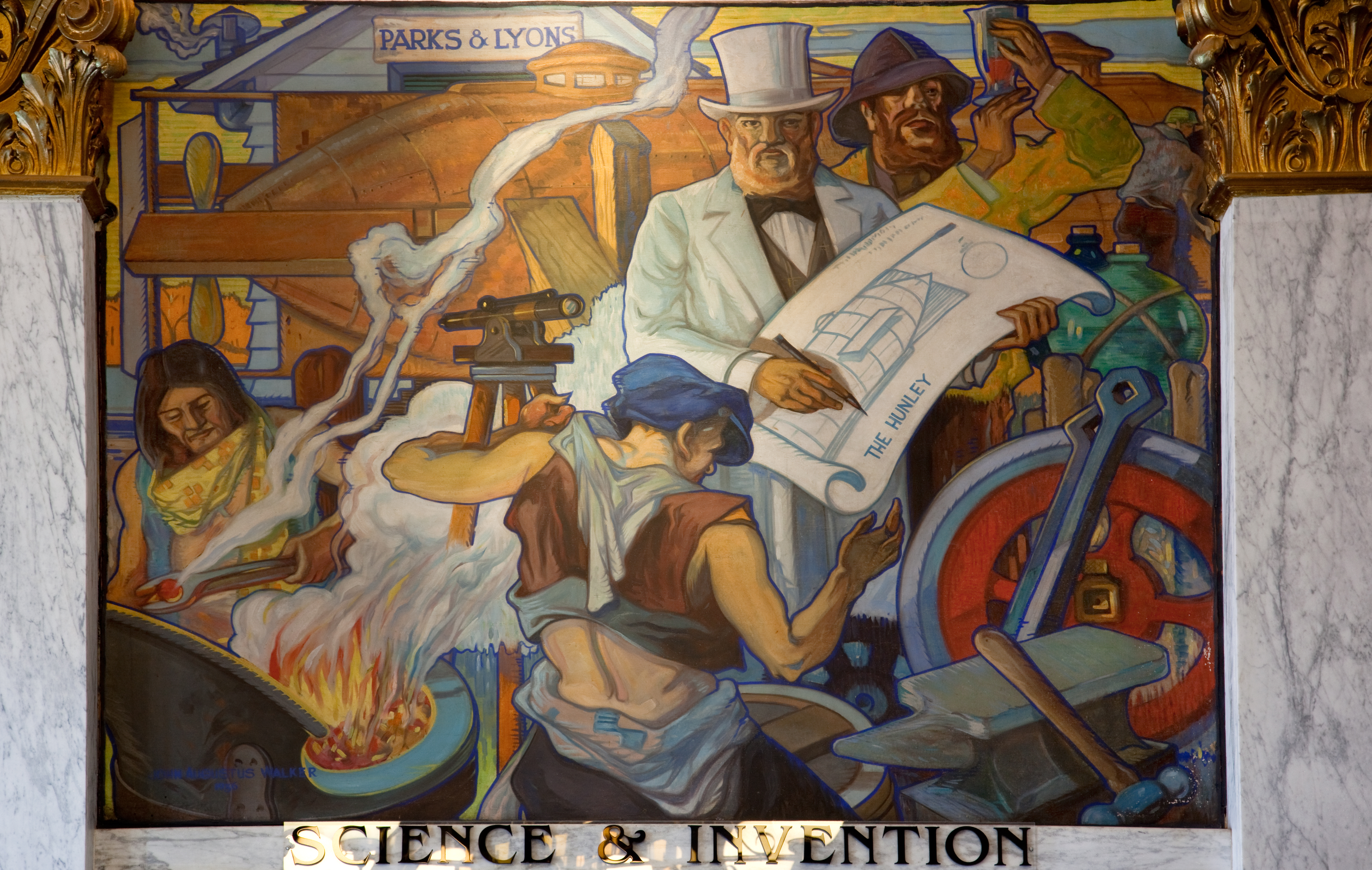 Works progress administration murals for Mural work using m seal