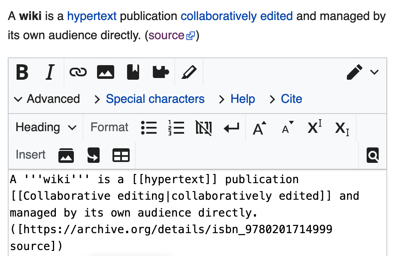 نص ويكي ويكيبيديا الموسوعة الحرة