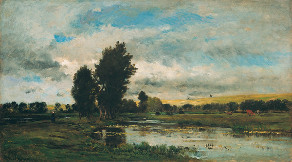 'French River Scene', oil on panel painting by Charles-François Daubigny