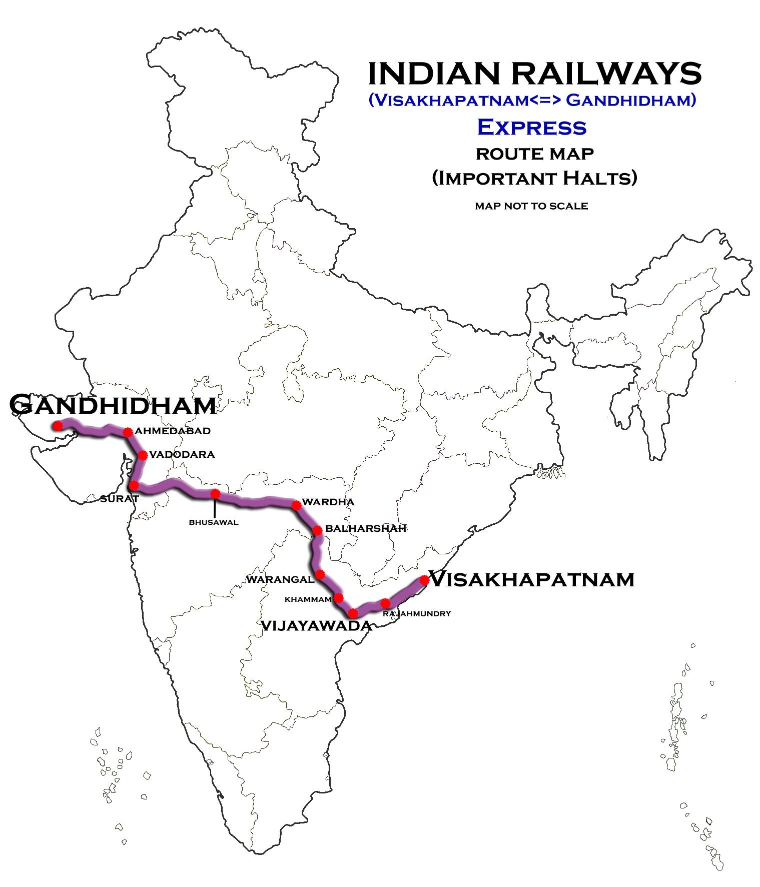 Gandhidham India  city images : Visakhapatnam Gandhidham Express Route map Wikimedia ...