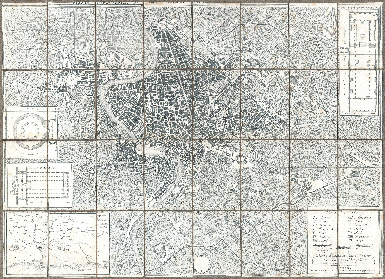 File:1843 Monaldini Case Map of Rome, Italy - Geographicus - Rome ...