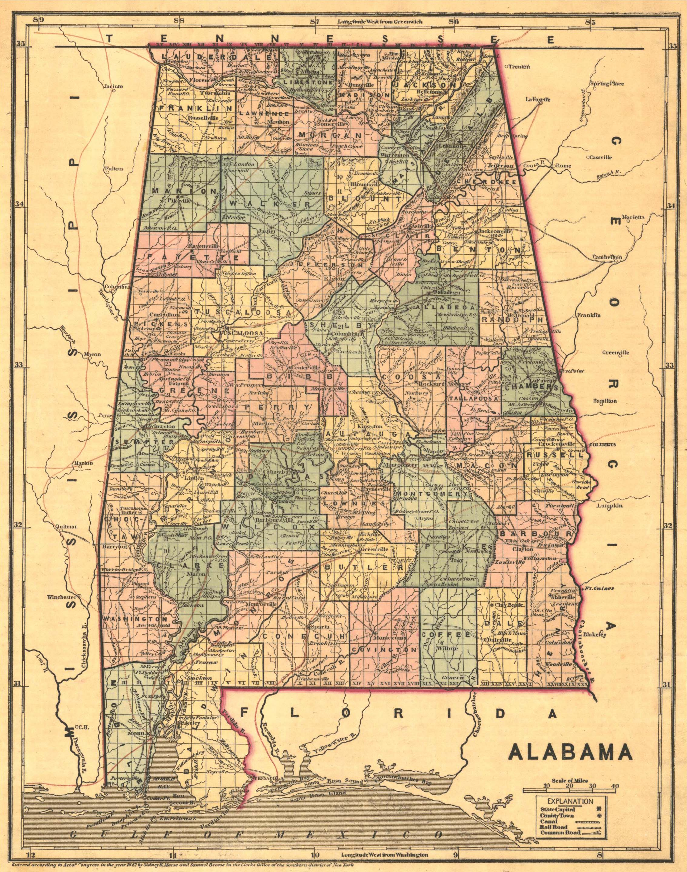 Printable Maps Of Alabama Counties Index