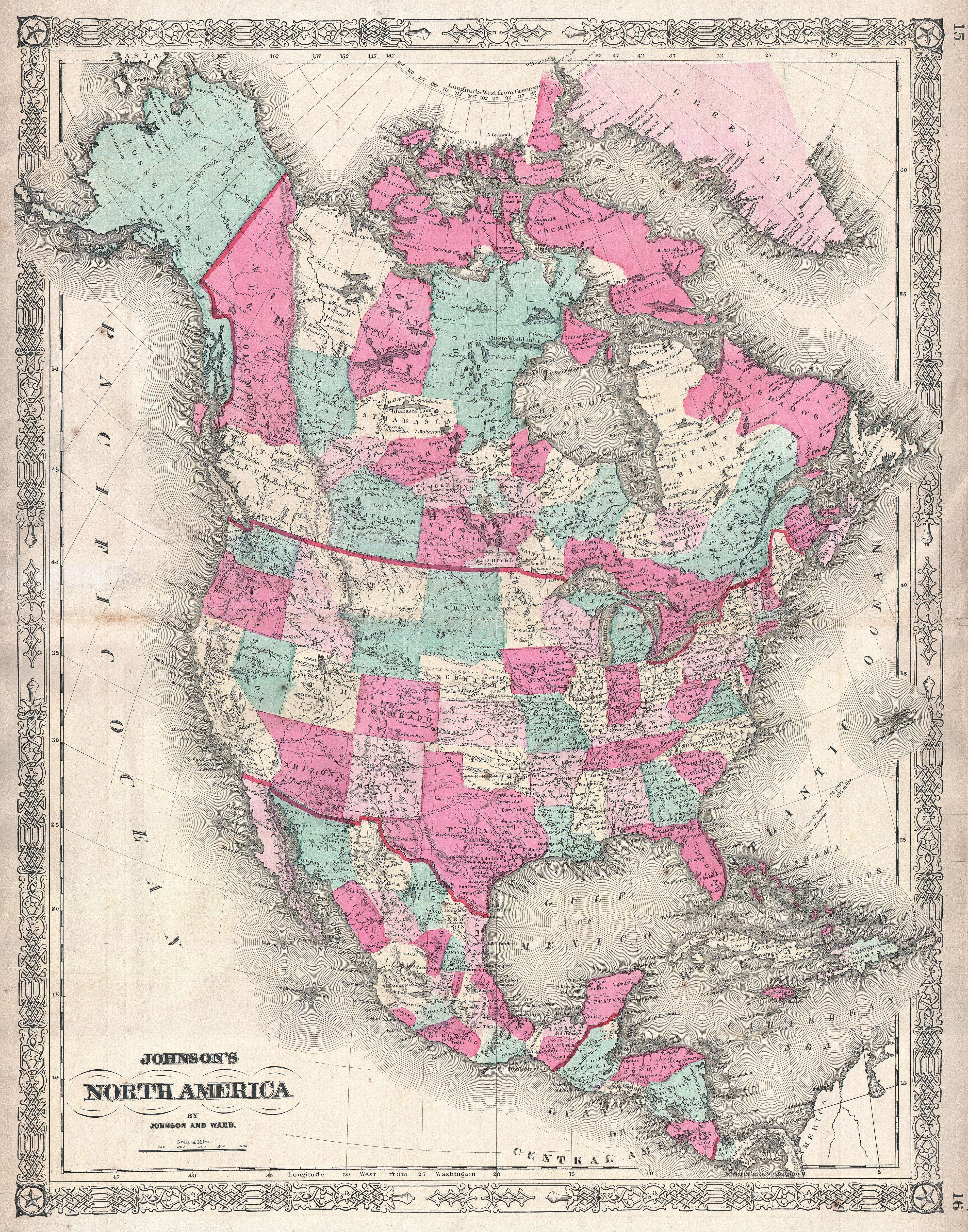 File1864 Johnson Map of North America Canada United States – Map United States and Mexico