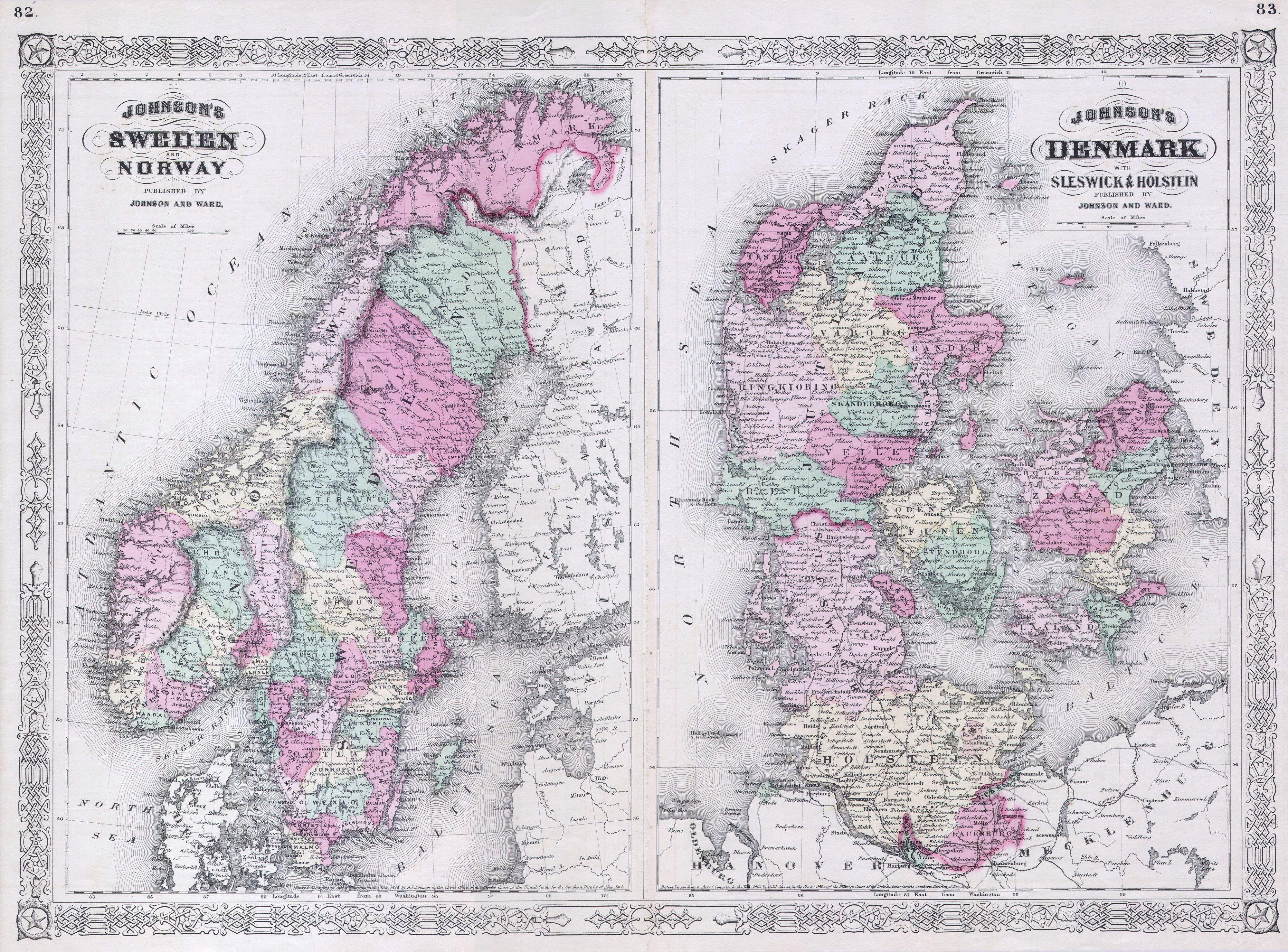 File:1865 Johnson Map of Sweden, Norway and Denmark - Geographicus on norway outline,