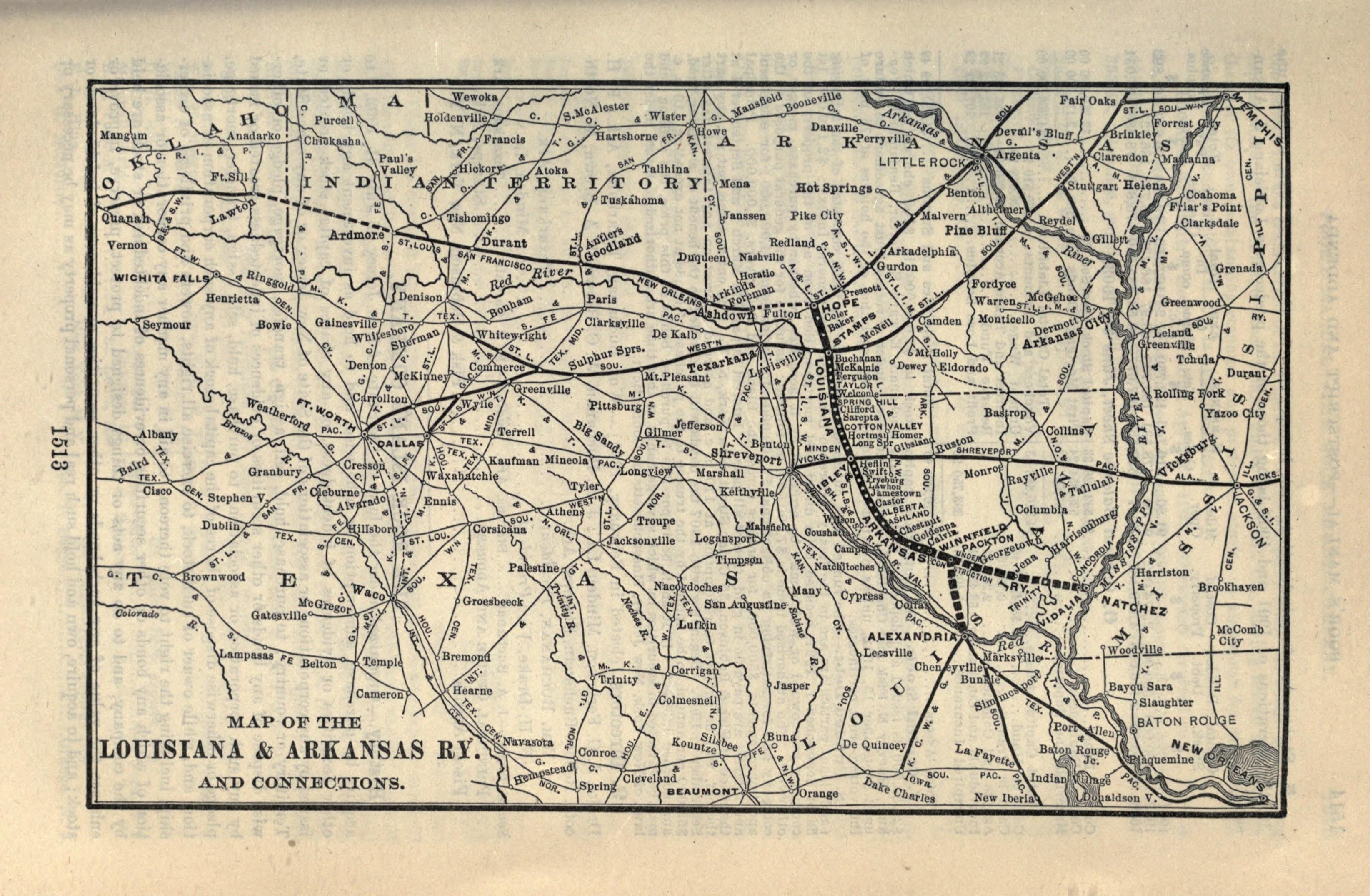 Arkansas And Louisiana Map.Louisiana And Arkansas Railway Wikipedia